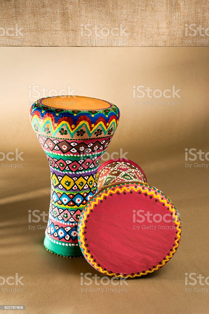Two decorated colorful pottery goblet drums (chalice drum, tarabuka, darbuka) stock photo