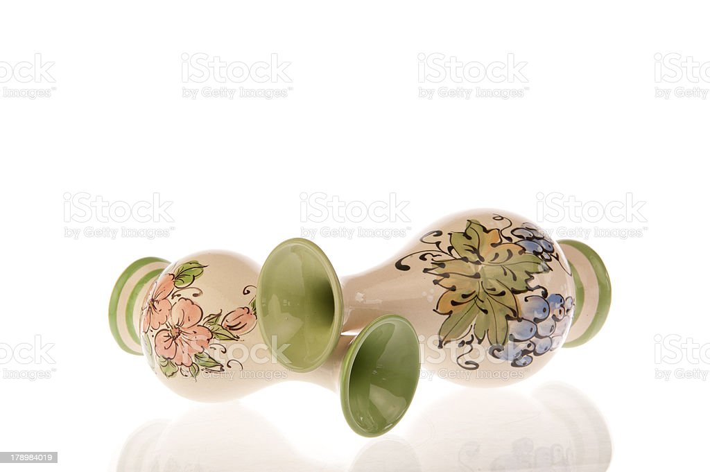 Two decorated vases fallen over royalty-free stock photo
