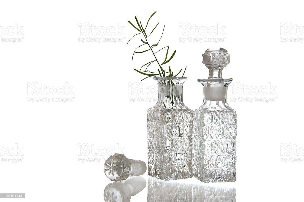 Two decorative glass oil carafe stock photo