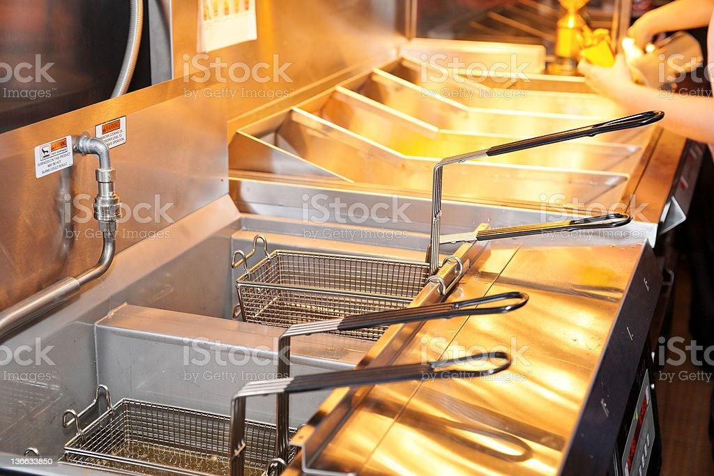 Two deep fryers with baskets in a restaurant kitchen stock photo