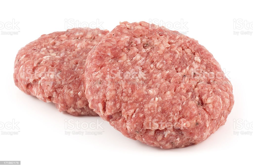Two delicious angus beef burgers isolated on a white background stock photo