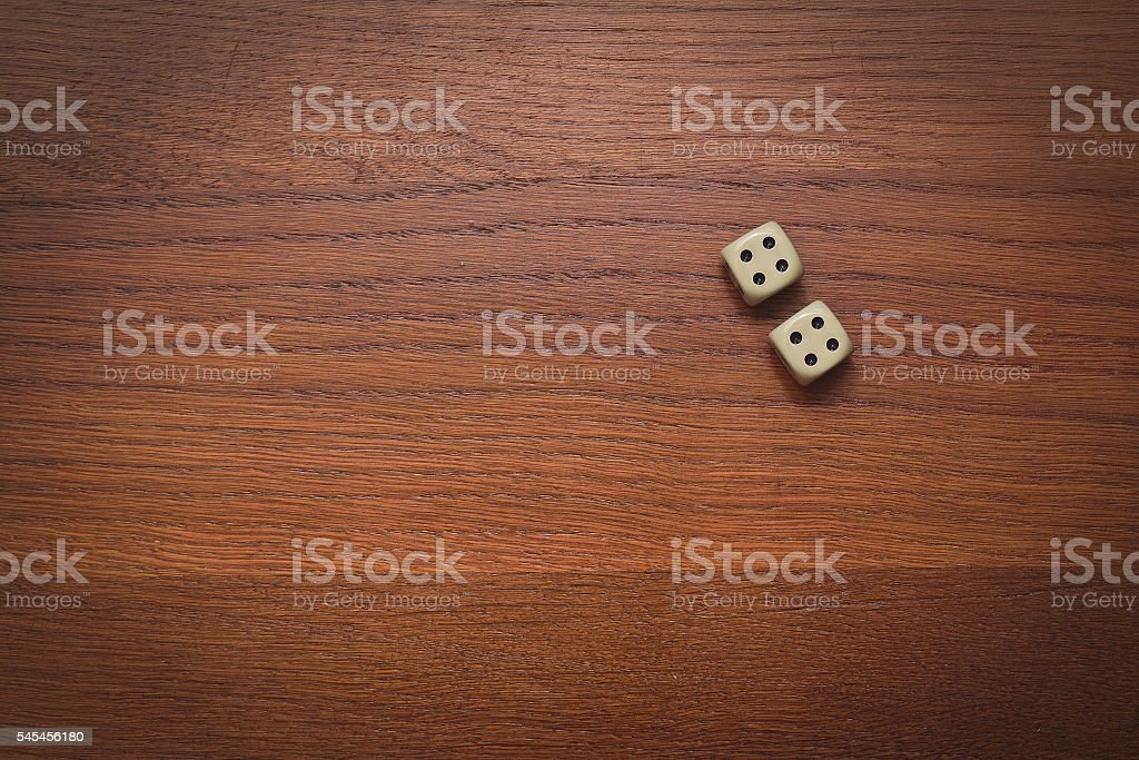 two dice number double 4 stock photo