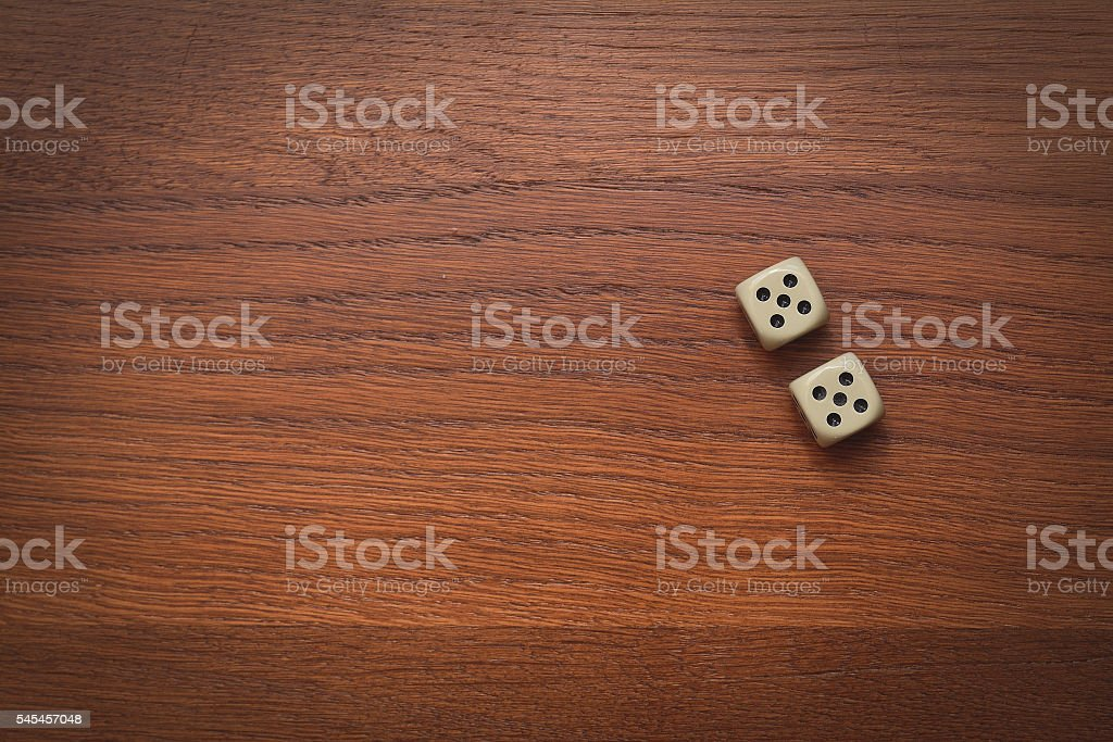 two dice number double 5 stock photo