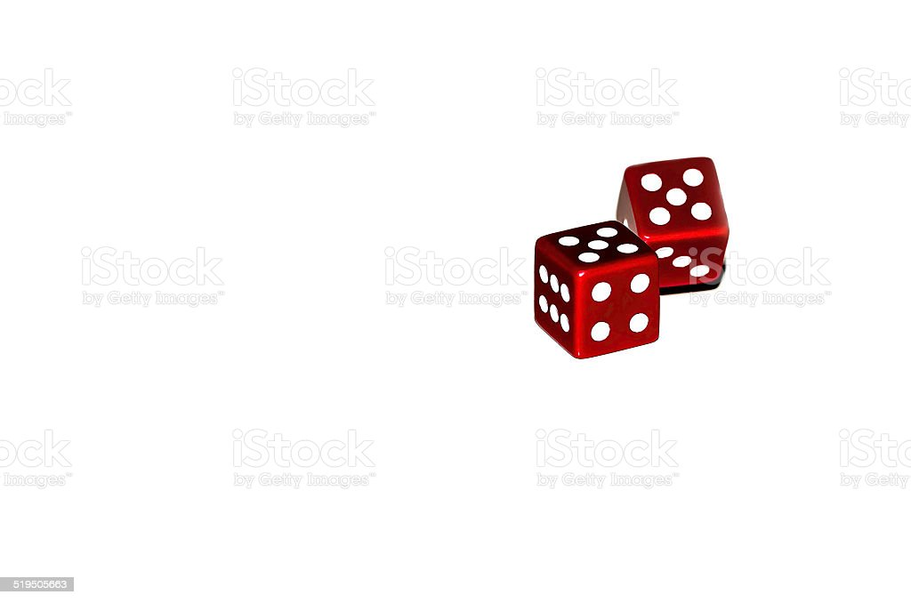 two dice on a white table high key colour image stock photo