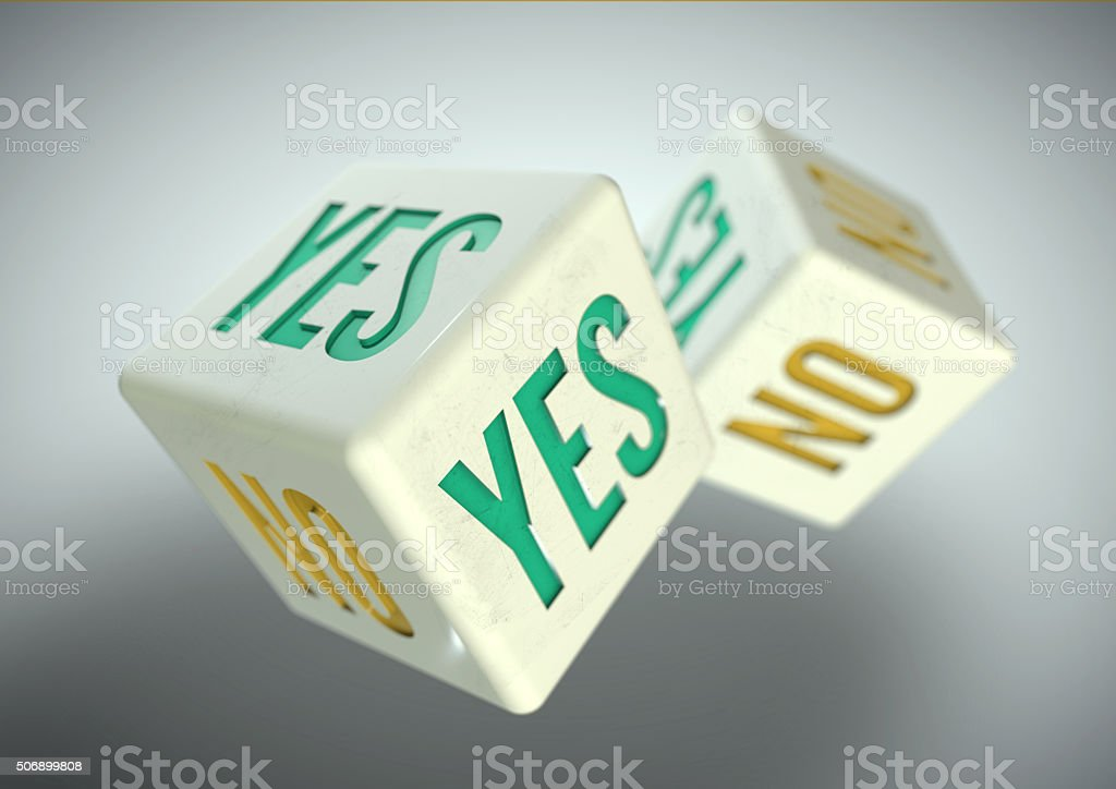 Two dice rolling. Yes no on faces of dice concept. stock photo