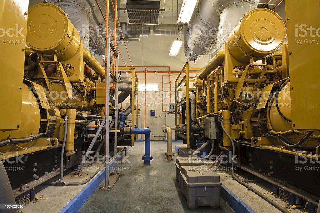 Two Diesel Generators in Industrial Facility royalty-free stock photo