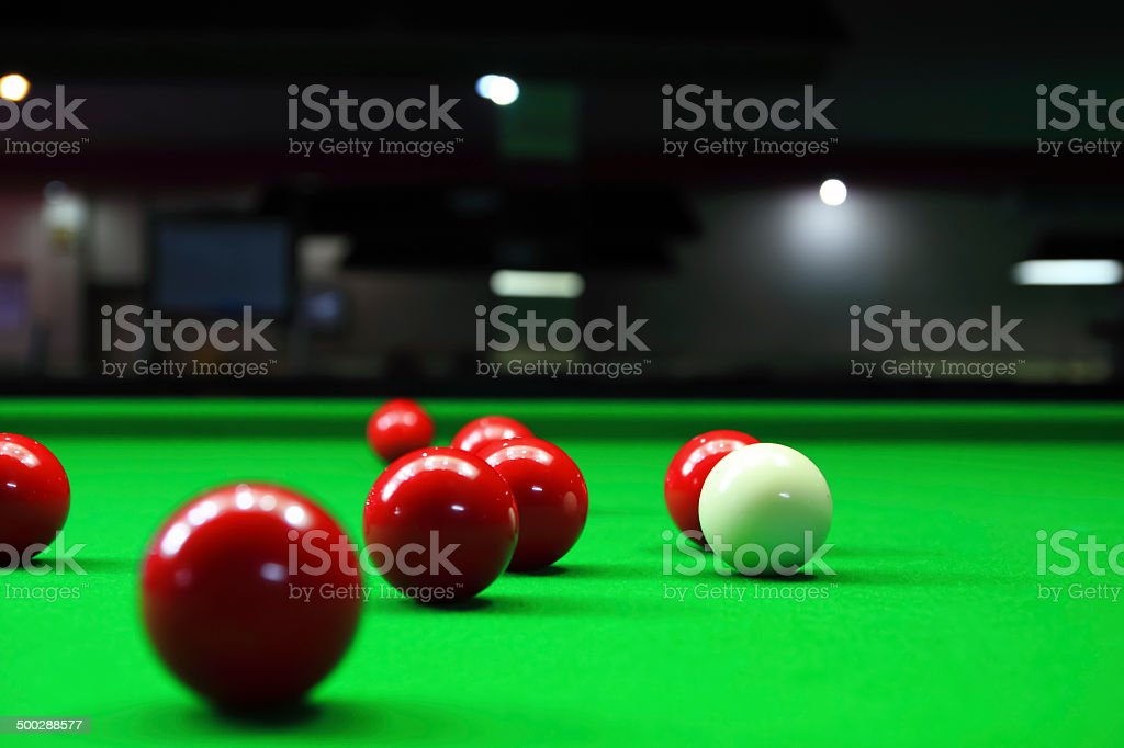 two different colour snooker balls on the table 2 stock photo