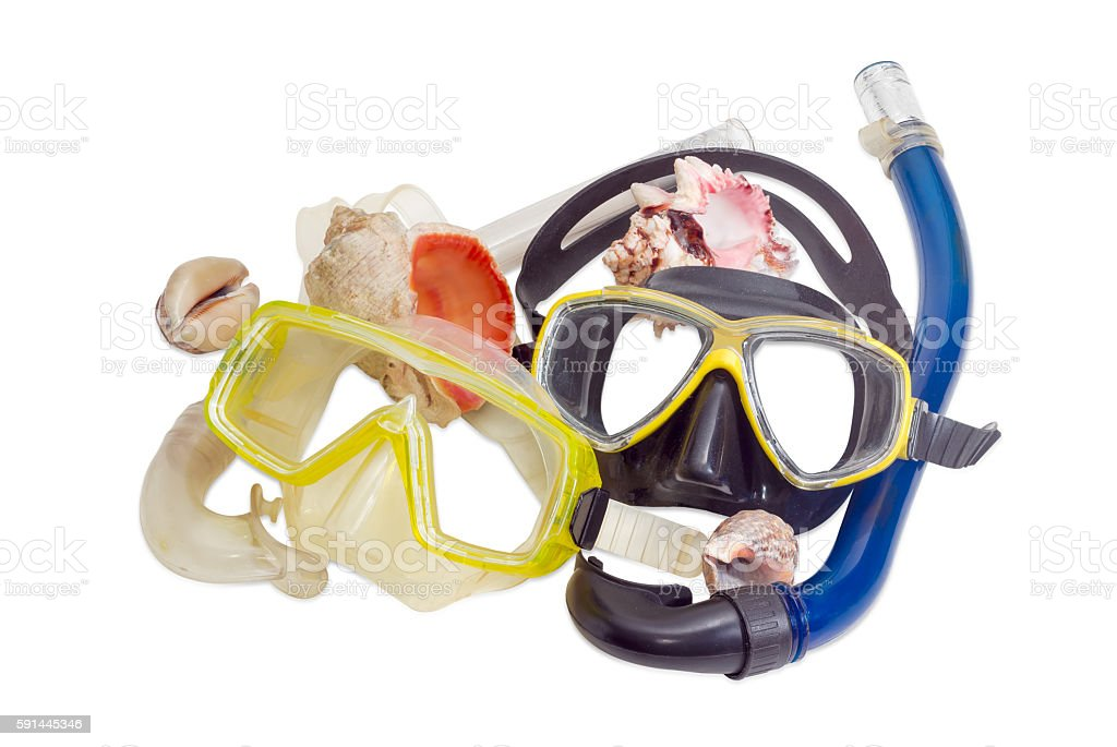 Two different diving masks and several sea shells stock photo
