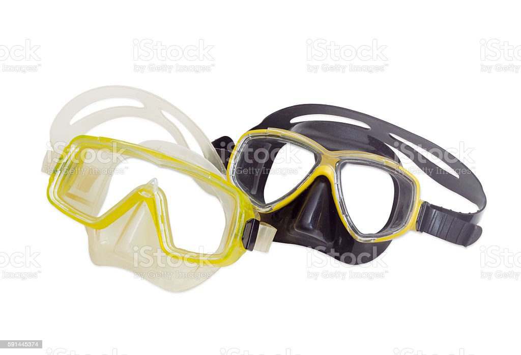 Two different diving masks on a light background stock photo