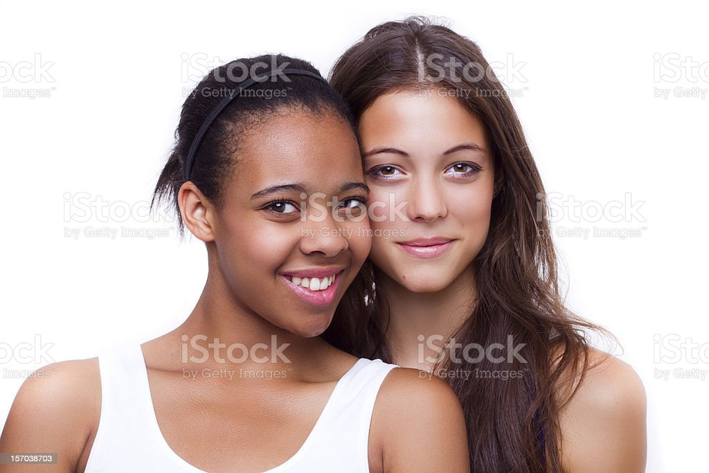 two different nationalities teenage girls stock photo