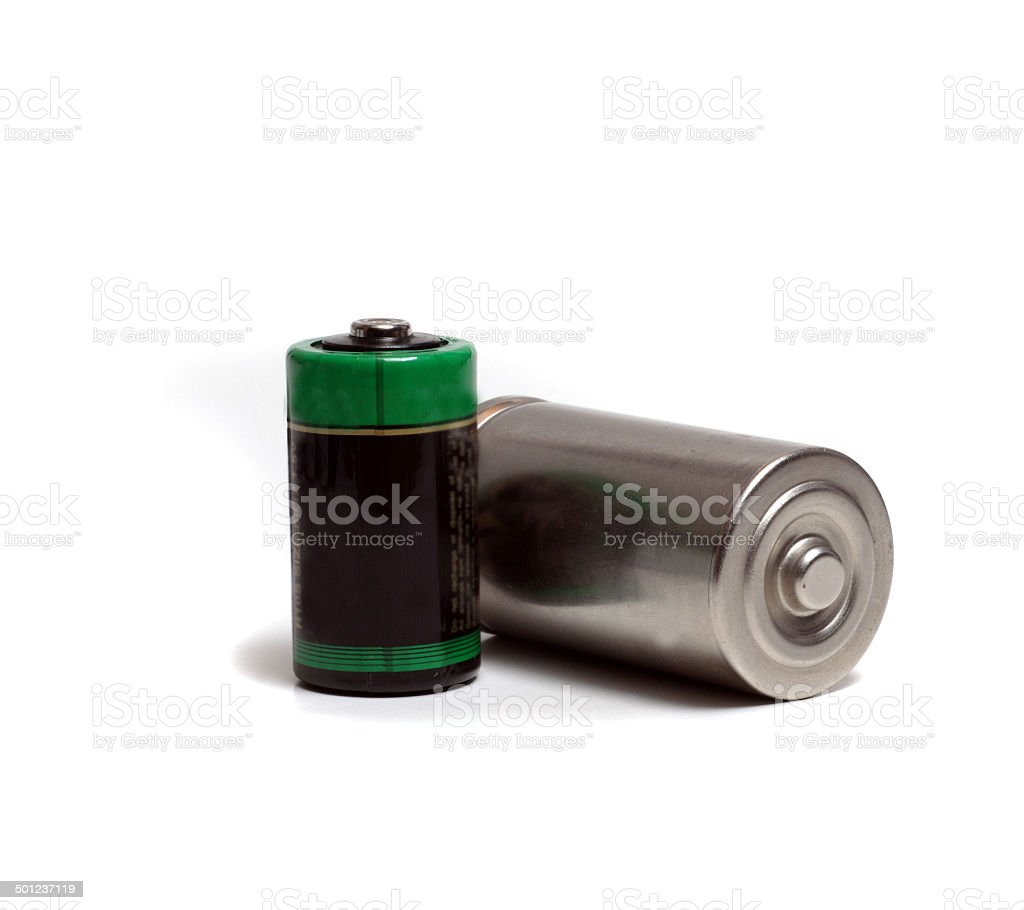 two different size batteries stock photo
