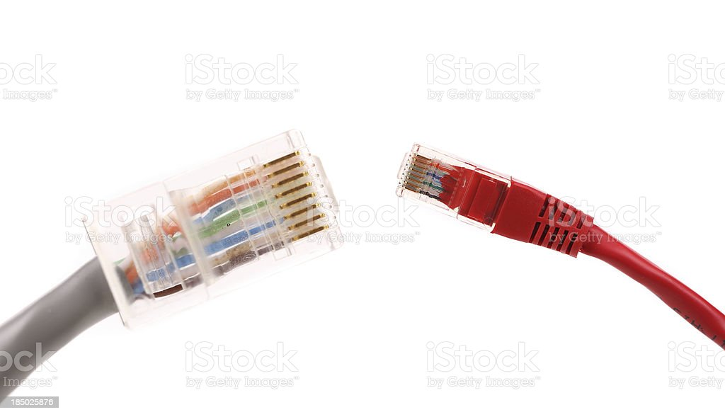 Two differrent network cables. stock photo