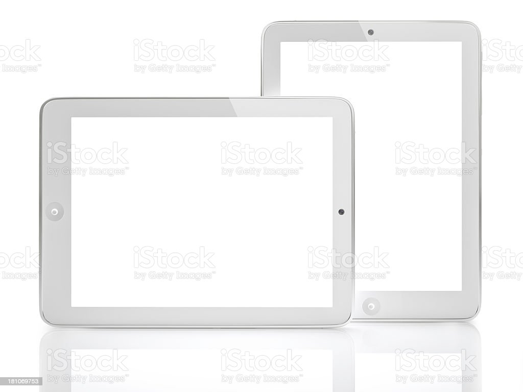 Two digital tablet with clipping paths stock photo