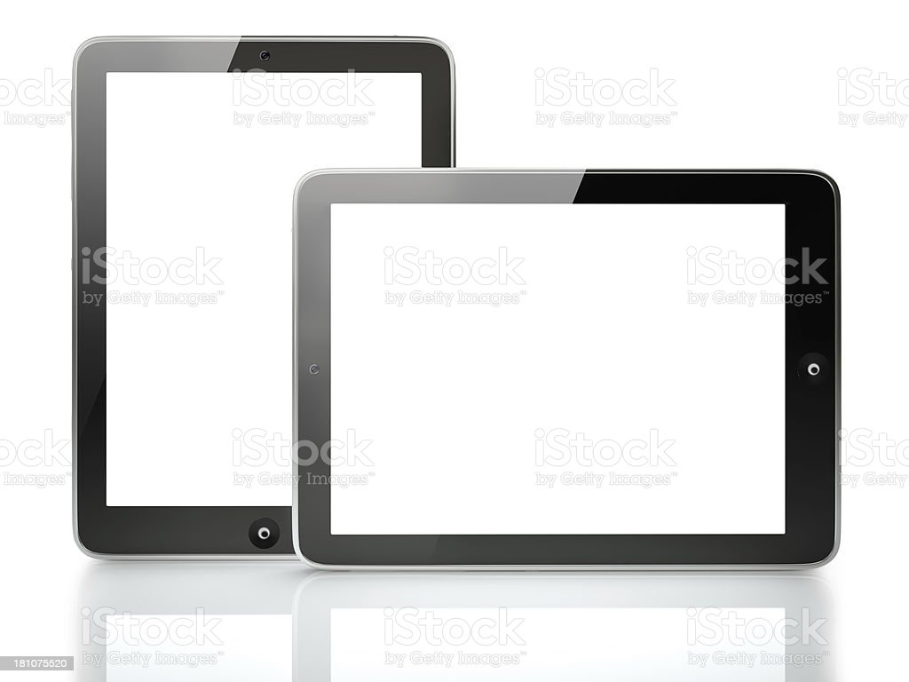Two digital tablet with clipping paths royalty-free stock photo