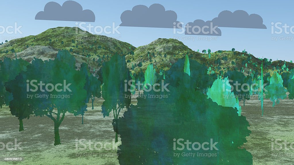 Two Dimension Trees stock photo