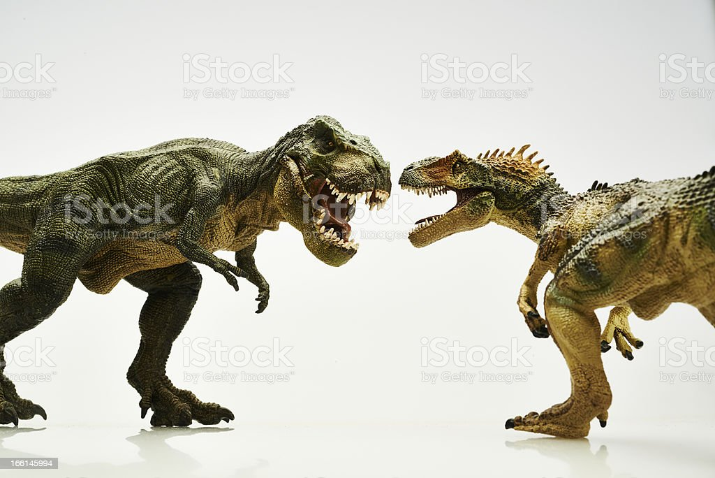 Two dinosaur figurines confronting each other stock photo