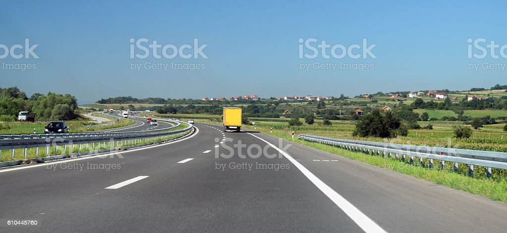 two directions of the highway stock photo