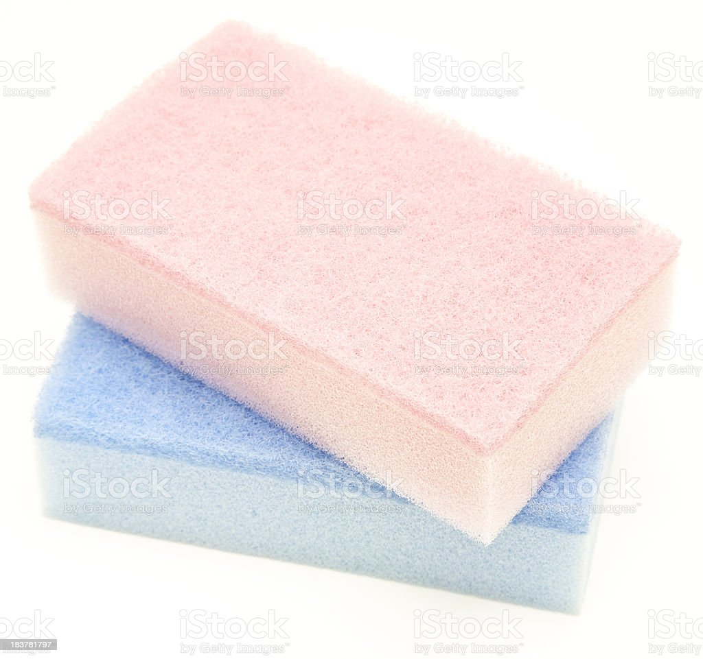 Two dishwashing sponges isolated stock photo