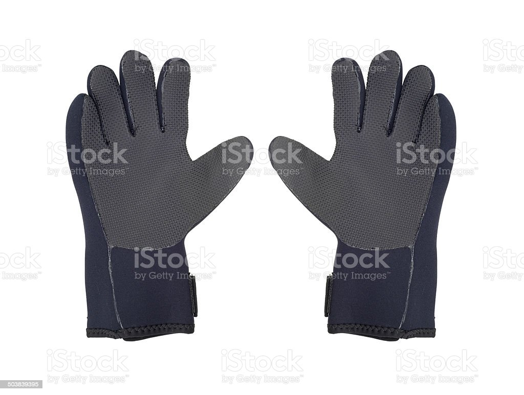Two divers gloves stock photo
