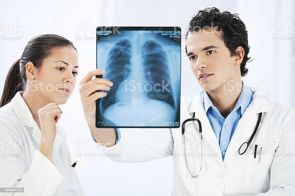 Two doctors with x-ray. stock photo