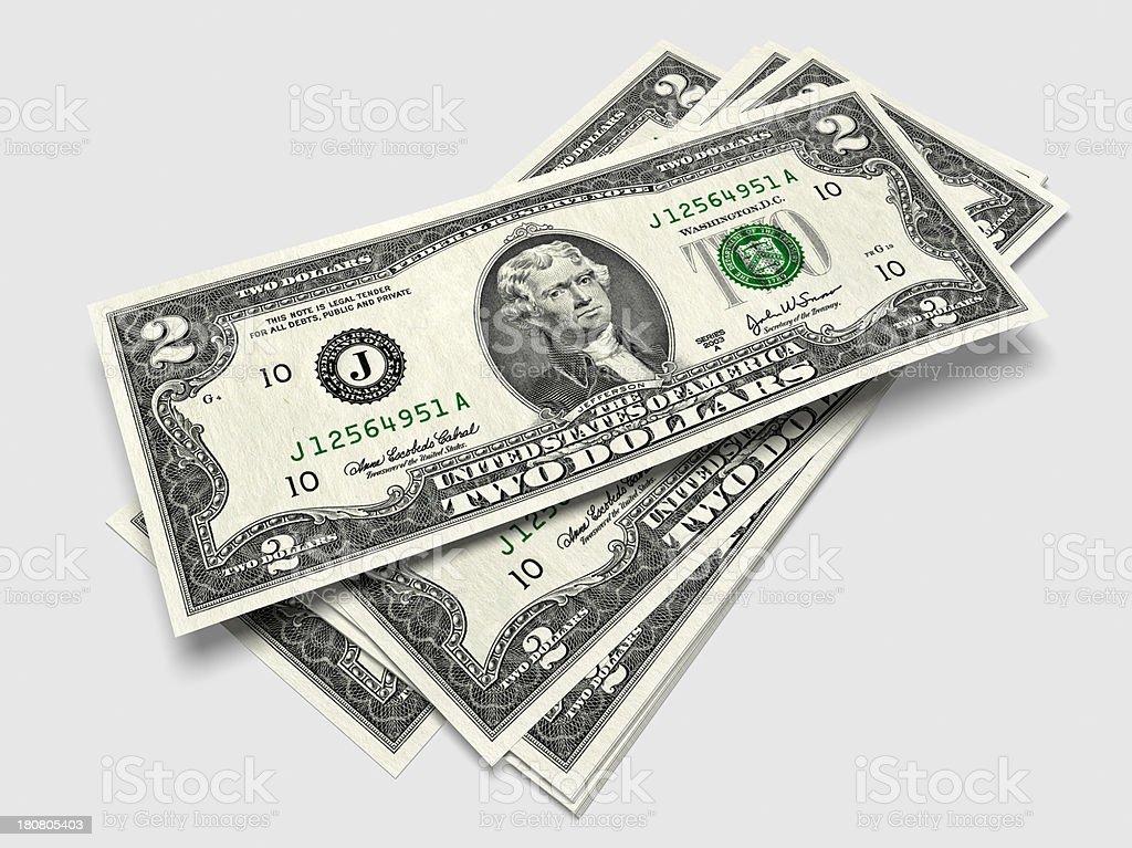 Two dollar Bills royalty-free stock photo