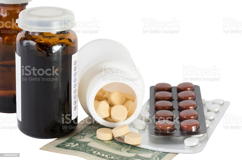 Two dollars and a medicines stock photo