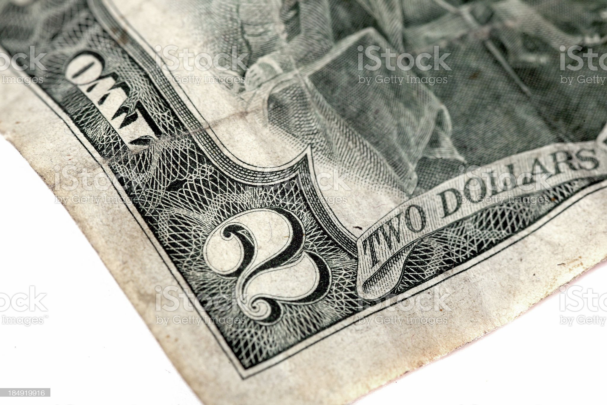 two dollars royalty-free stock photo