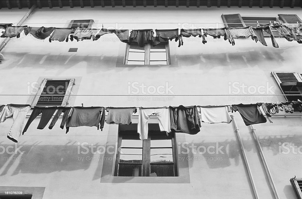 Two domeastic Clothes line, Italy royalty-free stock photo