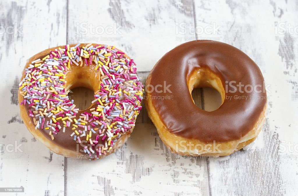 Two donuts royalty-free stock photo