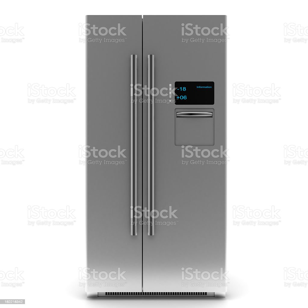 A two door silver stylish digital refrigerator stock photo