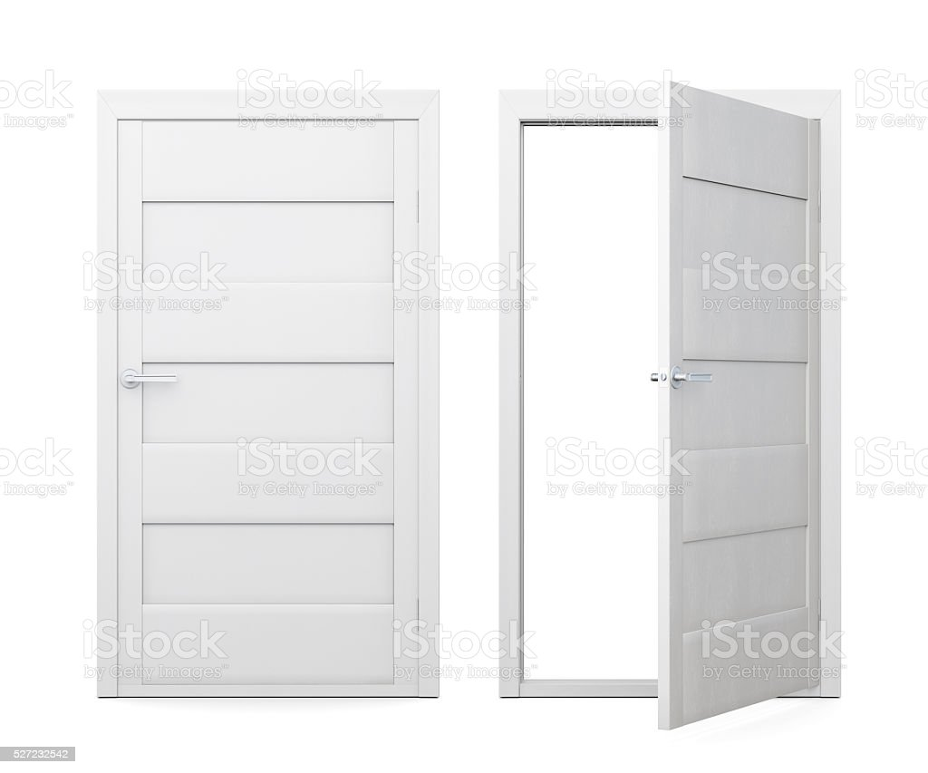 Two doors isolated on white background. 3d rendering stock photo