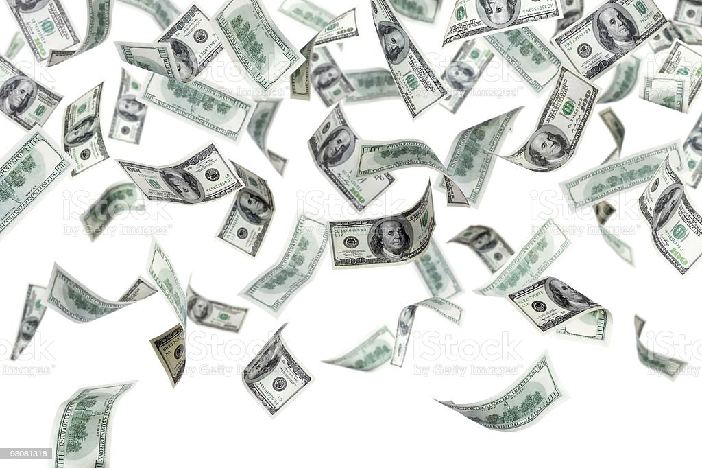 Two dozen $100 bills being dropped from above stock photo