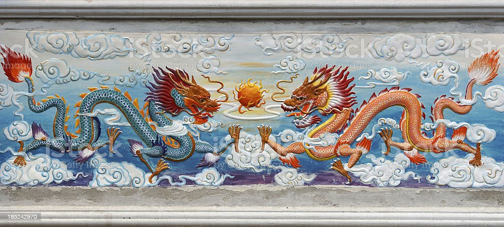 Two Dragon and fire ball painted image at Chinese Temple stock photo