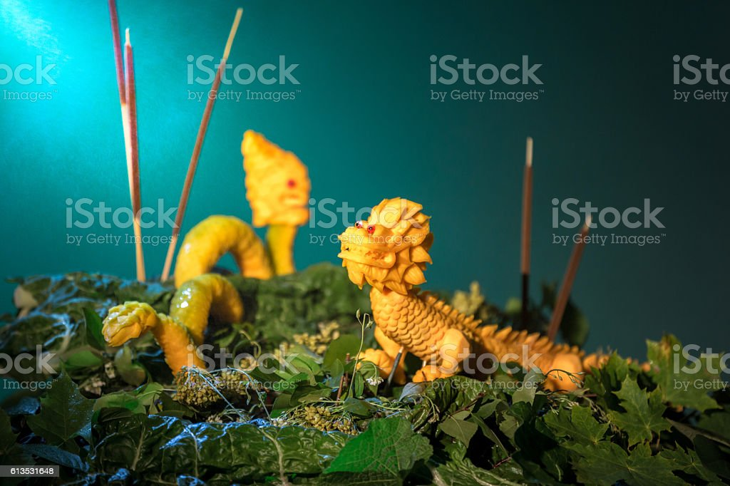 Two Dragon Carved From Pumpkin stock photo