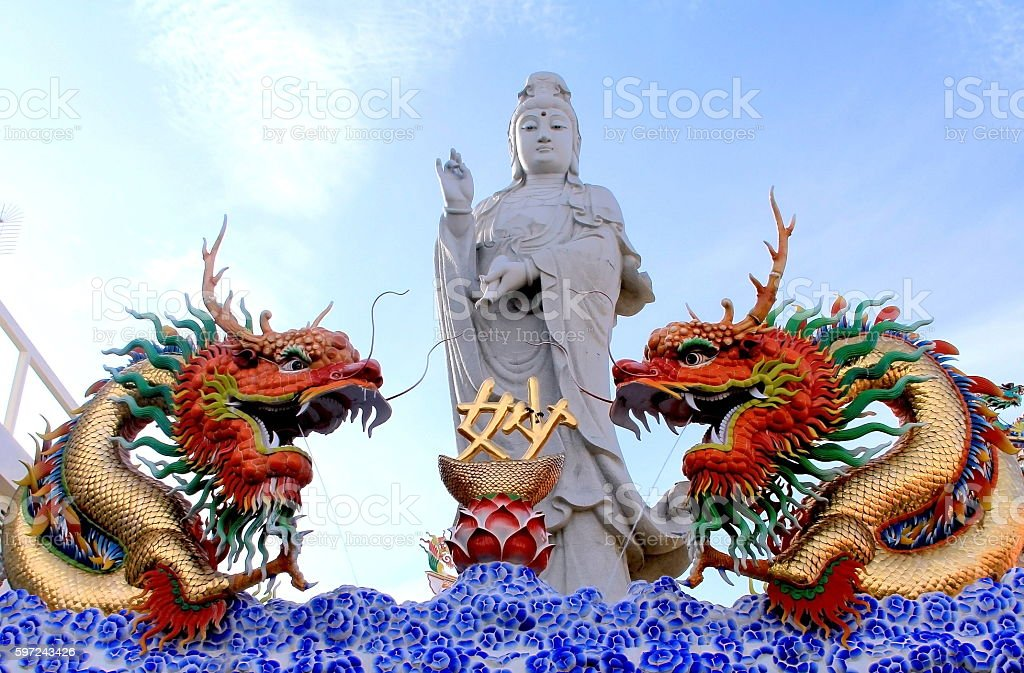 two dragon on Guanyin background from chinese temple. stock photo