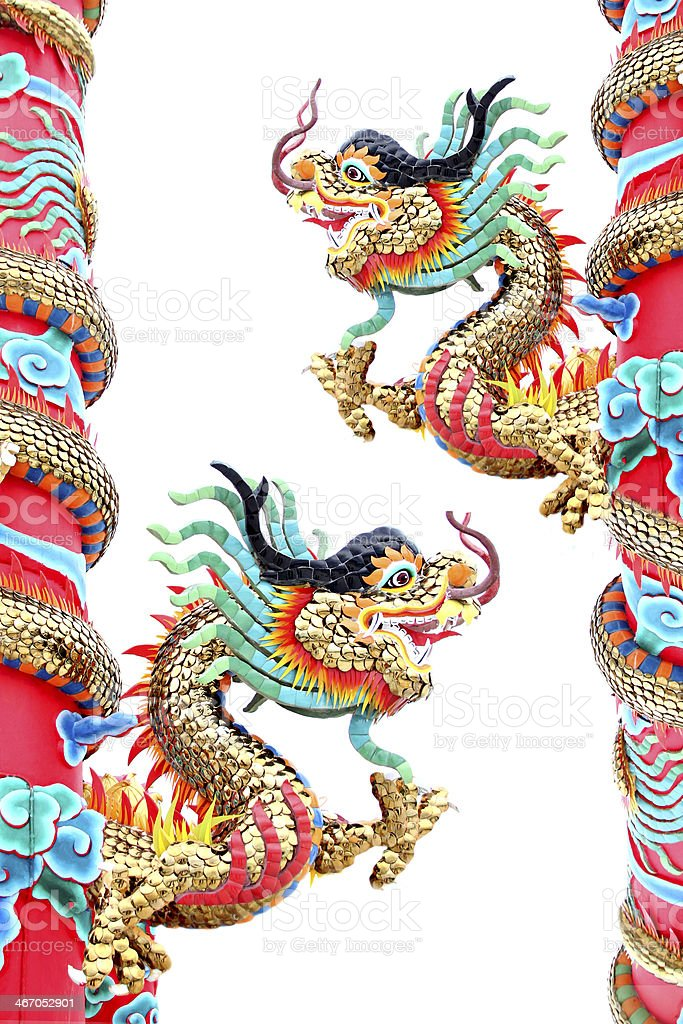Two Dragon statues in Chinese temple. royalty-free stock photo