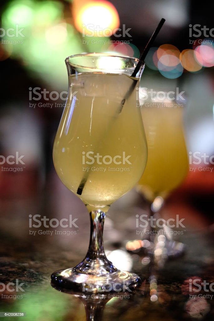 Two Drink Glasses with Bokeh stock photo