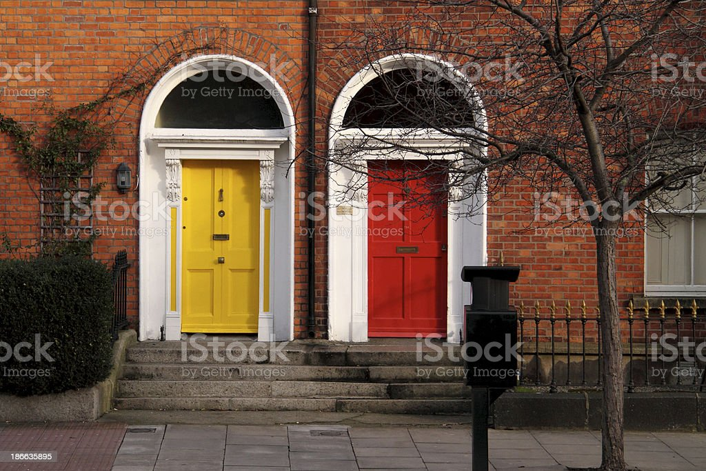 Two Dublin doors; yellow and red royalty-free stock photo