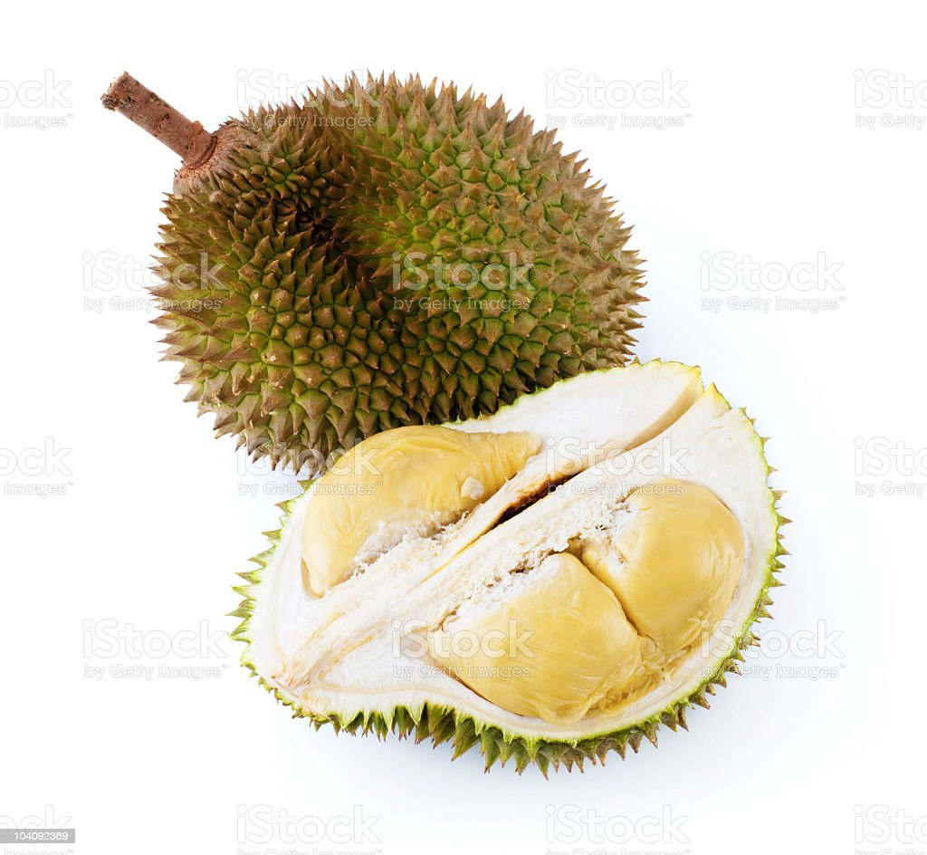 Two durian fruits on blank background, one whole, one halved royalty-free stock photo