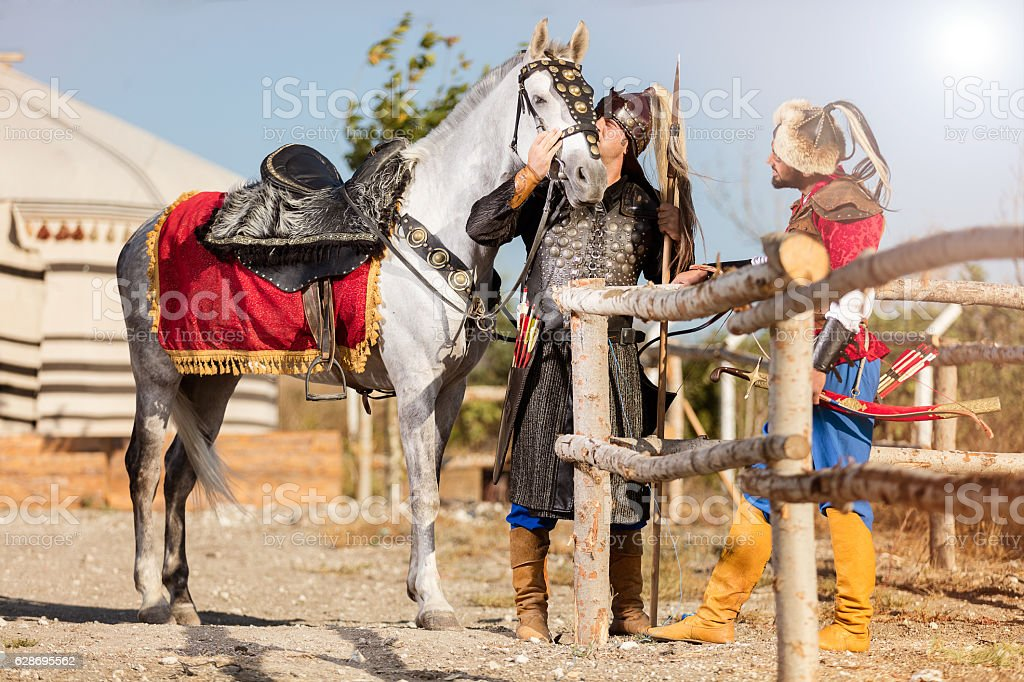 Two Eastern Warrior and Horse stock photo