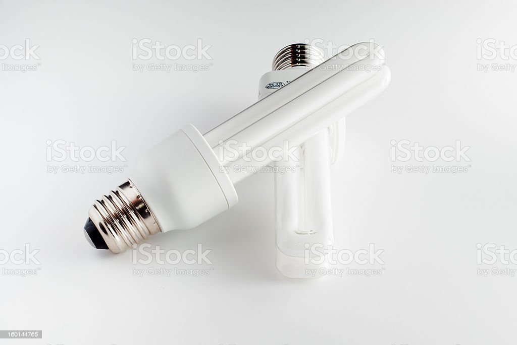 two economical bulbs stock photo