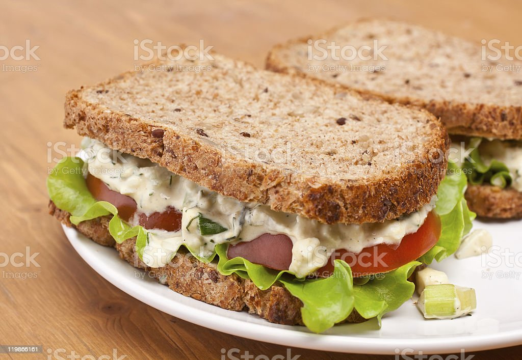 two egg salad sandwiches royalty-free stock photo