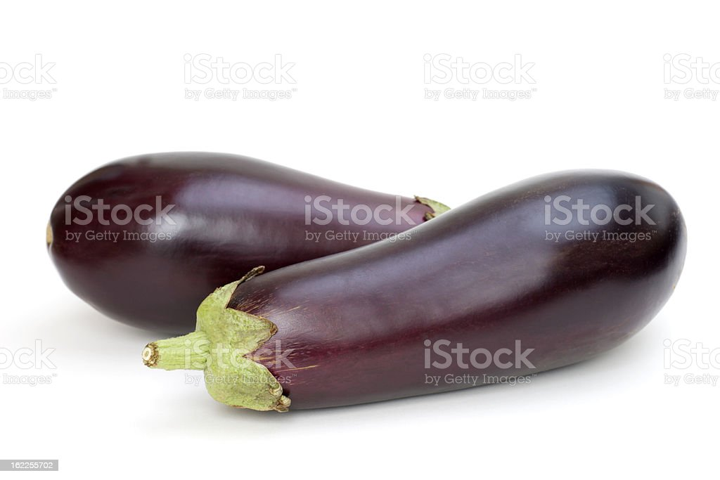 Two Eggplants on White Background stock photo