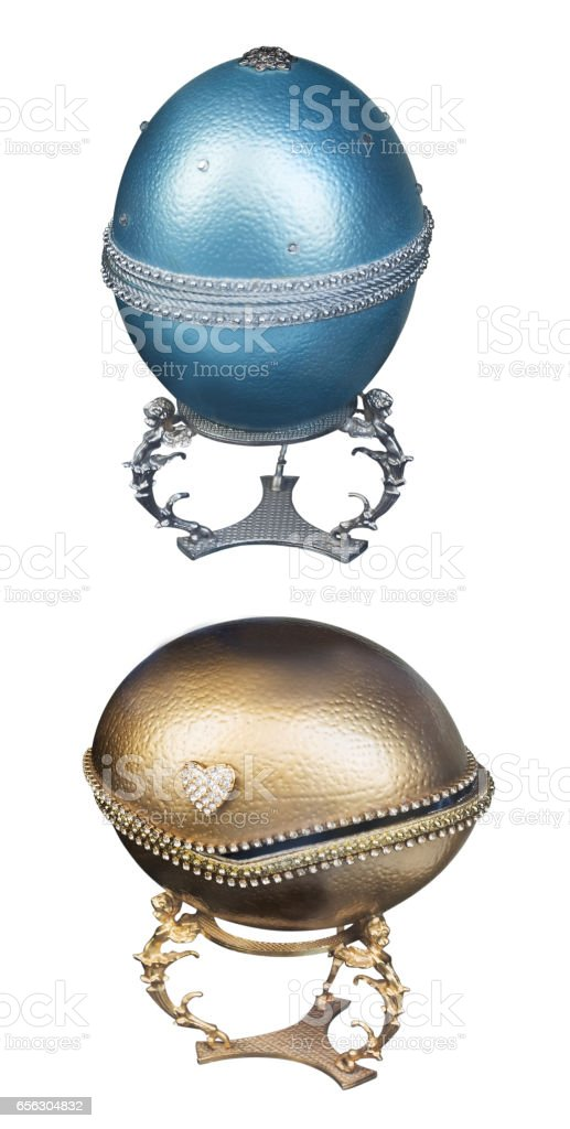 two eggs blue and gold of jewelry isolated stock photo