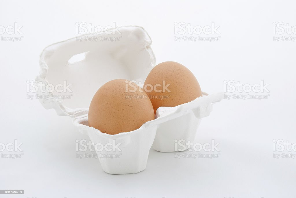 Two Eggs in white tray stock photo