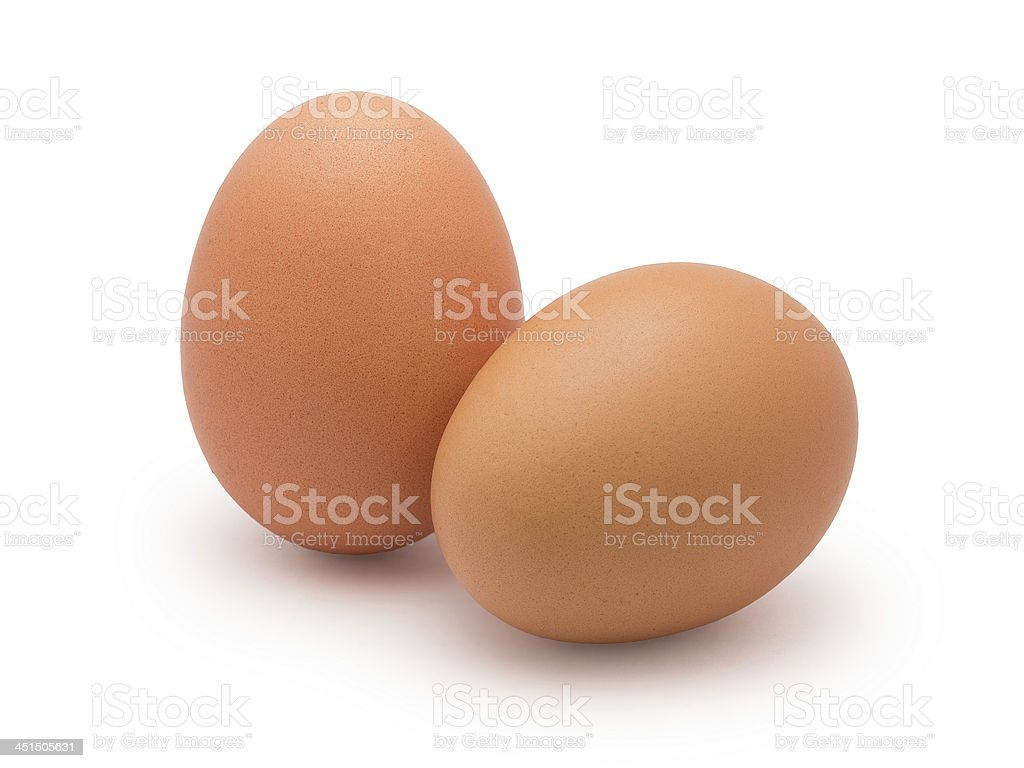two eggs isolated on white stock photo
