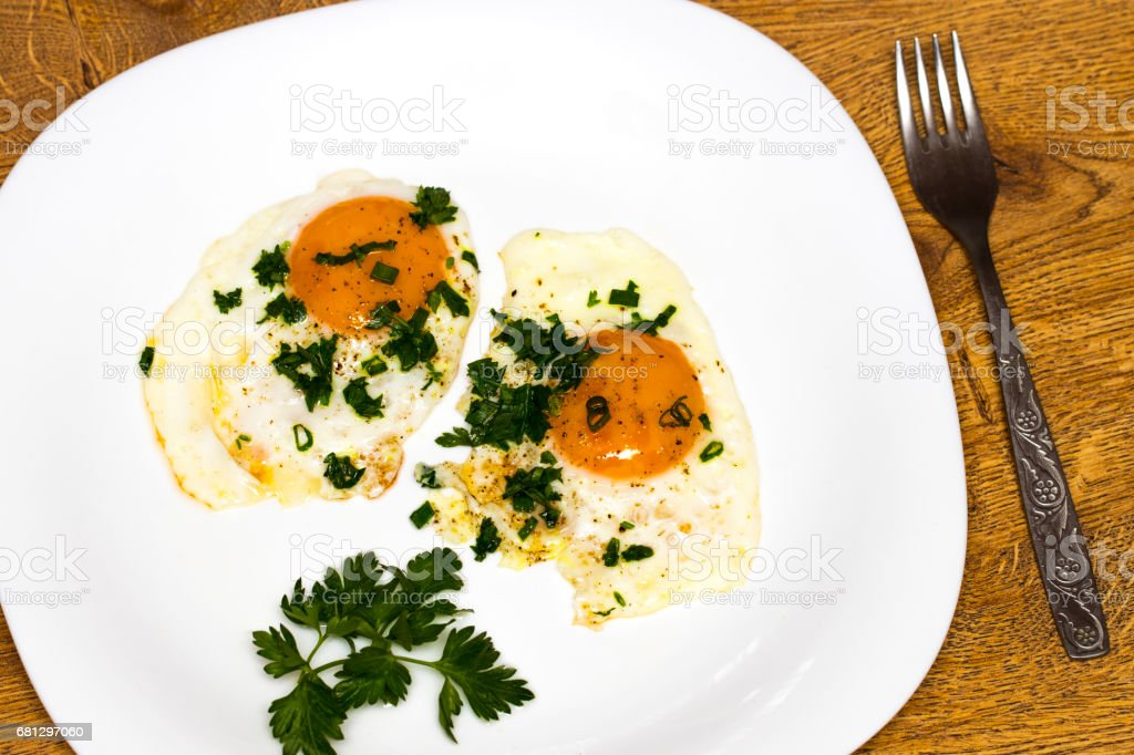 Two eggs on a plate. Healthy Breakfast. Proper nutrition stock photo