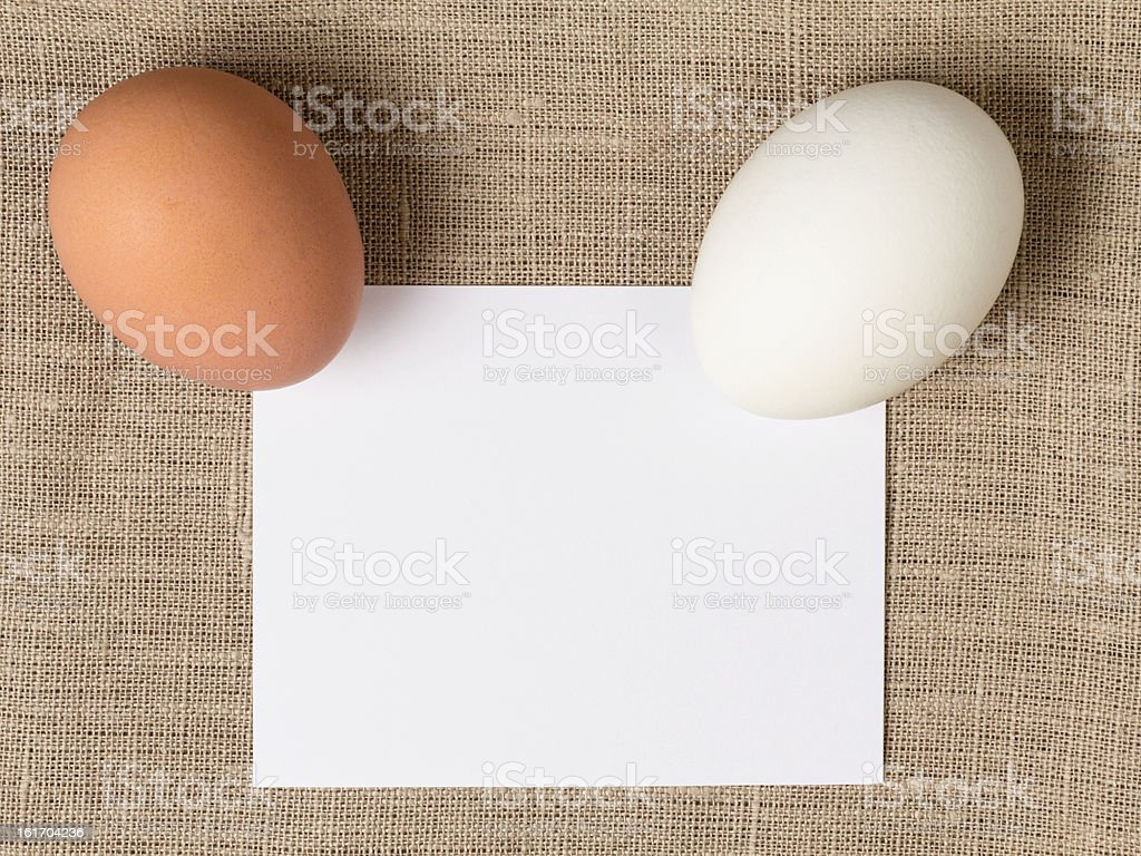two eggs with a card royalty-free stock photo