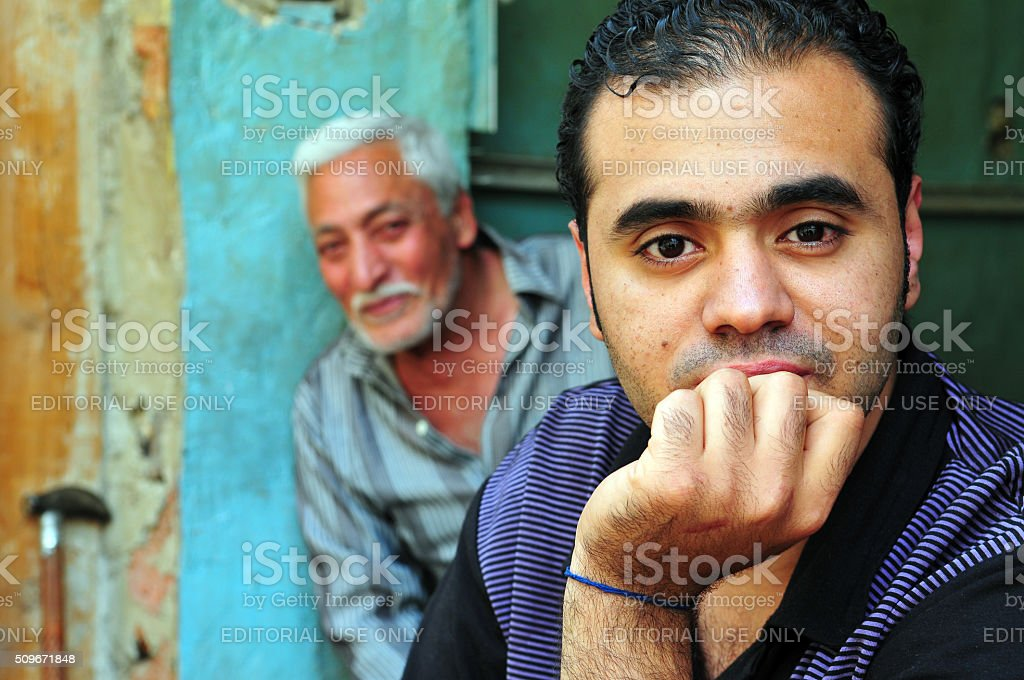 Two Egyptian men in Cairo stock photo