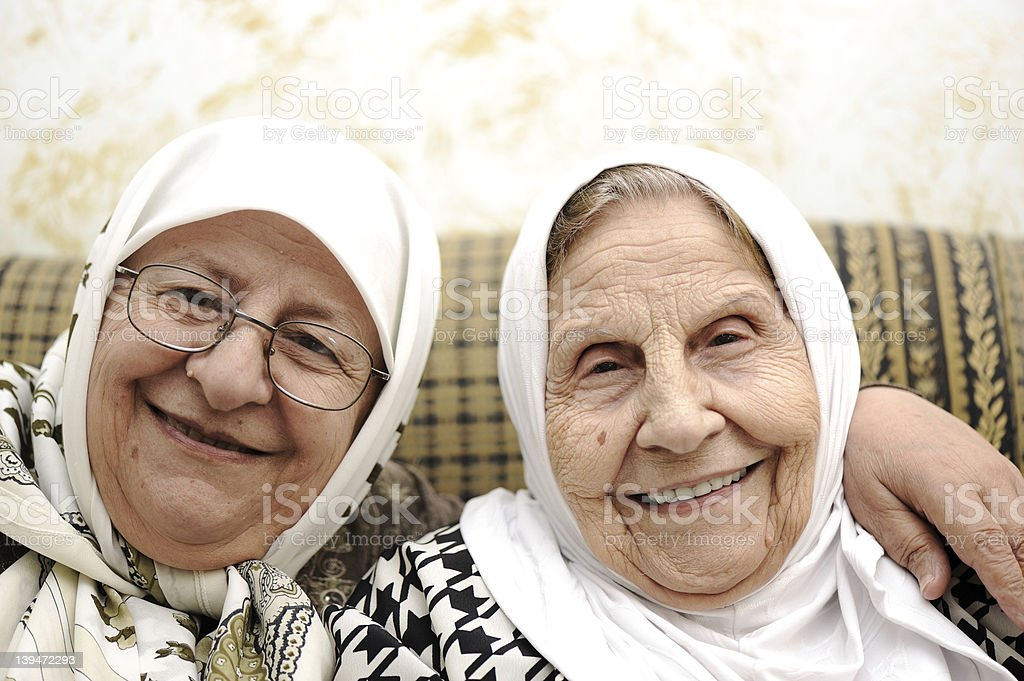 Two elderly women stock photo